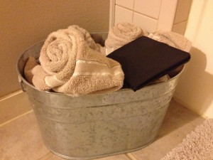 My iPad mini.  There it is, right on top of my cutsey towel basket.  Where else would it be?